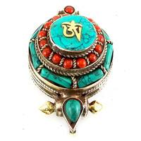 Tibetan Round Pendant Pressed Turquoise and Red Coral Stones 32mm x 55mm x 24mm