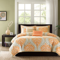 Queen Orange & Taupe Damask Print 5 Piece Comforter Set