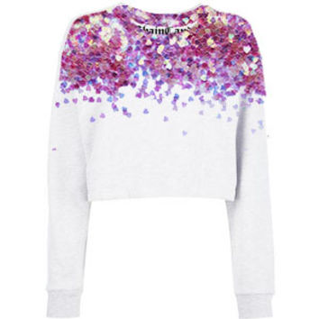 Glitter Hearts Cropped Fleece Sweatshirt