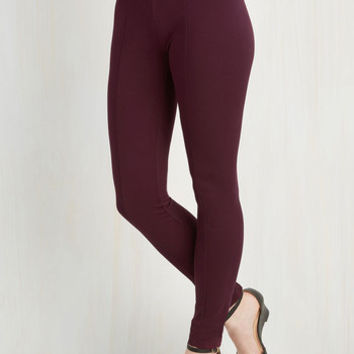 90s Long Skinny Can You Gig It? Pants in Cranberry