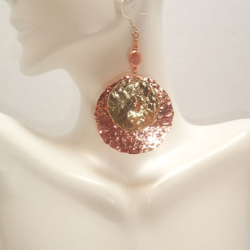 Hammered Copper and Brass Earrings, Copper Earrings, Mixed Metal, Textured, Fashion Jewelry, Wire Wrapped, Simplistic, Dangles 2 1/2 Inches