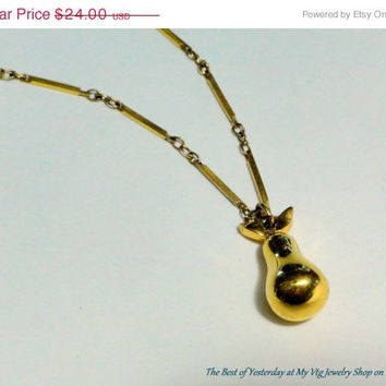 HUGE Sale Trifari Necklace Trifari Gold Pear Pendant on Long Bar Links Chain, Etsy Vintage Jewelry Sale