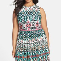 Plus Size Women's Eliza J Belted Print Sleeveless Fit & Flare Dress,