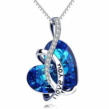 ARUBA BLUE SWAROVSKI ELEMENTS CURSIVE LOVE YOU PENDANT NECKLACE