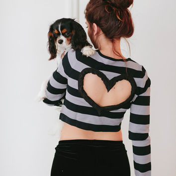 BLACK/gray  striped Heart Cut out Shirt Upcycled Crop Top