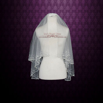 Two Tier Fingertip Veil with Pearl Beadings | Wedding Veil | Bridal Veil | Short Wedding Veil | Crystal Veil | Tulle Veil | VG1023
