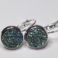 "Titanium Druzy Geode Cabochon ""Unity"" Silver Plated Lever Back Earrings"