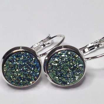 """Titanium Druzy Geode Cabochon """"Unity"""" Silver Plated Lever Back Earrings"""
