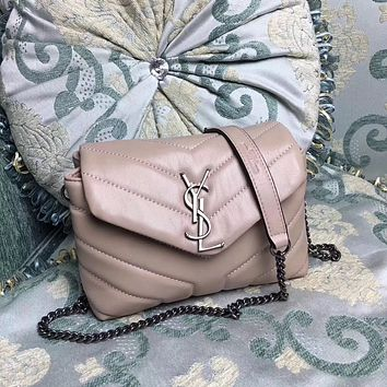 YSL SAINT LAURENT SLP LEATHER CHAIN SHOULDER BAG
