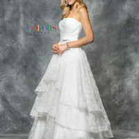 Colors 1594 Off White Layered Lace Prom Evening Dress
