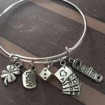 Lucky Casino Dice Playing Cards and Four Leaf Clover Charm Silver Expandable Adjustable Wire Bangle Bracelet Stacking Handmade Trendy Gamble Gift