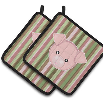 Pig Face Pair of Pot Holders BB6930PTHD