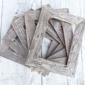 Rustic Natural Barn wood Picture Frames - Set of FIVE 5 x 7 Shabby Chic Picture Frames in Natural