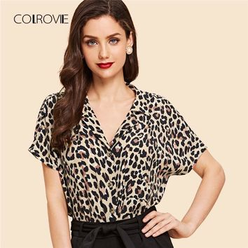 COLROVIE Multicolor Vintage V Neck Notched Leopard Print Batwing Blouse Shirt 2018 Summer Feminine Blouse Sexy Women Tops