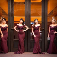 2016 Burgundy Lace Mermaid Bridesmaid Dresses V-Neck Off the Shoulder Zipper Sweep Train Cheap Prom Party Gowns Robe De Soiree