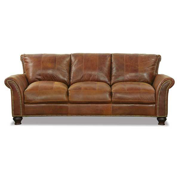 Soft Leather Sofa: Brown All Leather Sofa 1A-4758S Soft Line From Afwonline.com