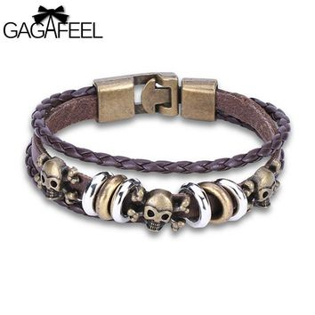 GAGAFEEL Vintage Bracelet Braided Genuine Leather Bracelets Bangles Fashion Punk Skull Skeleton Star Beads Men Wrap Rope Chain