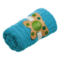 35'' x 40'' Turquoise Cable-Knit Stroller Blanket