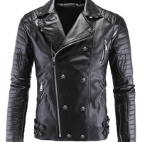 Zippered Skull Buckle Embellished Faux Leather Jacket