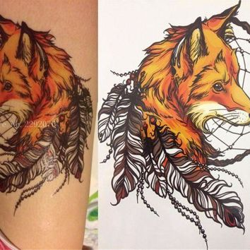 ac PEAPO2Q 2016 21 X 15 CM Yellow Fox and Feather Cool Beauty Tattoo Waterproof Hot Temporary Tattoo Stickers
