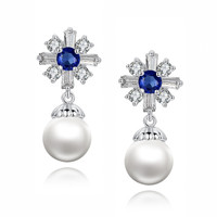 Cross W. Shell Pearl and Blue Baguette and Round Cubic Zirconia Earrings