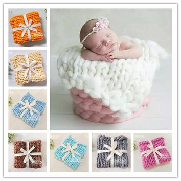Newborn Baby Knitted Crochet Square Blanket Mats Baby Newborn Balls Blanket Photo Prop Newborn Photography Props Accessories