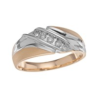 Cherish Always 10k Gold Two Tone 1/4-ct. T.W. Certified Diamond Bypass Wedding Ring - Men