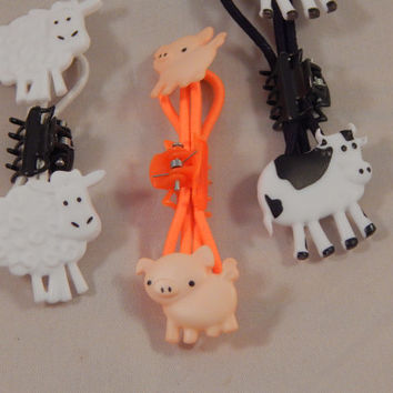 Barnyard Elastics - animal ponytail holders - sheep, pig, cow; large animal science whimsical hair accessory; farmyard easter basket filler