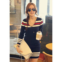 Casual Stripe and Knitting V-Neck Long Sleeve Sweater