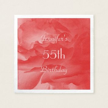Coral Pink Rose Paper Napkins, 55th Birthday Paper Napkin