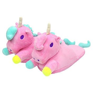 Spiritup Adult Plush Unicorn Slippers Cute House Anti Slip Loafers
