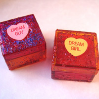 Glitter Trinket Boxes Set of 2, Conversation Hearts, Pink and Orange, Dream Guy Dream Girl, His and Hers, Valentine