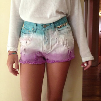 Womens Tommy Hilfiger Vintage high waisted Custom Distressed Studs Ombre Denim Jean Shorts Sz  2