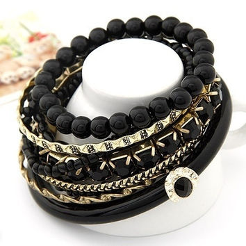 Bohemian Black Bead  Mulitilayer Bracelet = 1928780740
