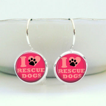 Hot Pink Dog Earrings : I Love Rescue Dogs