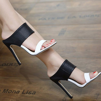 Women Sandals 2017 Summer Ladies Sandals High Heels 11cm Zapatos Mujer Slippers  Party office Shoes Ladies Shoes Black+White