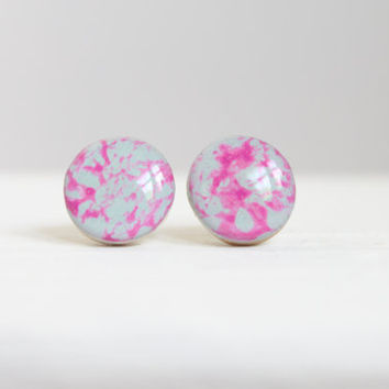 Bright Blue and Pink Wood Earrings, Stud Earrings, Resin Jewelry, Hypoallergenic Jewelry