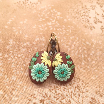 flower earrings - embroidery flower clay -  boho earrings - Mint green earrings - jewelry embroidery handmade cabochon - clay flowers
