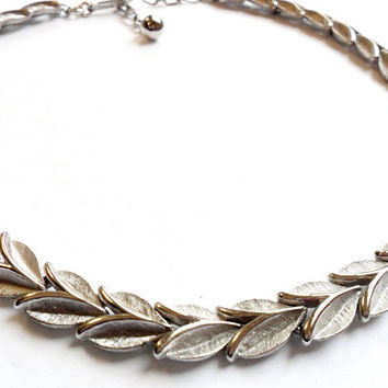 Vintage Trifari Leaf Necklace - Silver Tone Metal - Brushed Metal - Leaves Foliage - Choker Necklace - Signed Marked - Crown Trifari