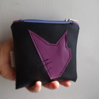 Cat Coin Purse Handmade Pouch Bag, Black Violet Coin Purse, Small Makeup Bag, Vegan leather Coin, Faux Leather Small Clutch