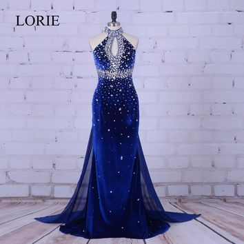 Luxury Mermaid Evening Dress 2018 Royal Blue Velvet Long Prom Dresses High Neck Crystal Beading Formal Dress Women Wedding Party
