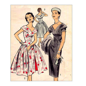 Vintage 1950s Wiggle Dress with Built In Overskirt Sewing Pattern Advance 7885 Drape Collar Bust 34