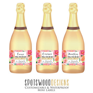 Mini Will You Be My Bridesmaid Custom Champagne Label, Bridesmaid Wine Label, Bridesmaid Proposal, Bridal Party Gift, Ask Bridesmaid, Floral