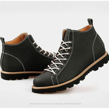 Men's Ankle Boot Spring Autumn Martin Boot Leather Shoe Men British Style Casual Fashion Shoe High Top Chukka Boot