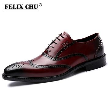 FELIX CHU Luxury Classic Genuine Leather Men Wedding Brogue Oxford With Wingtip Lace Up Burgundy Office Party Formal Dress Shoes
