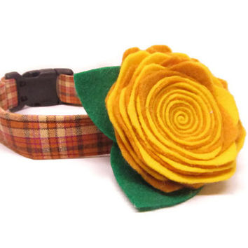 Dog Collar and Flower - CUSTOM Pecan Pie Plaid and Gold FELT Flower - cute dog collar, fall dog collar