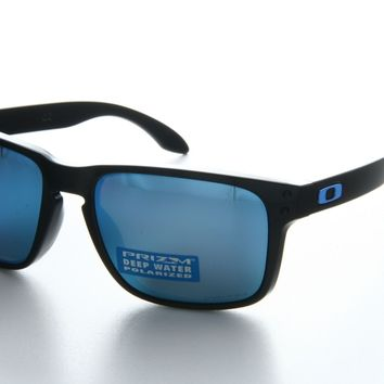 New Oakley OO 9102 9102/C1 Black Frame Blue Lens Square Plastic Sunglasses
