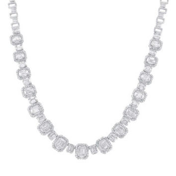 7.73ct 18k White Gold Diamond Baguette Necklace