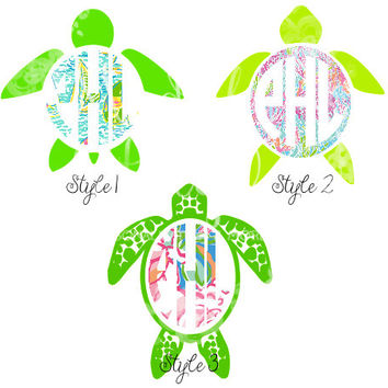 Lilly Pulitzer Inspired Turtle Monogram Decal