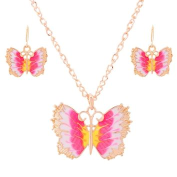 Hot Sale Jewelry Set for Bride Princess Pink Butterfly Pendant Necklace Gold Color Engagement Party Accessories Free Shipping